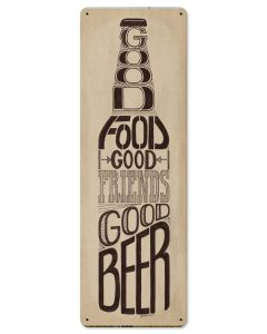 Good Food Friends Beer Vintage Sign, Man Cave, Metal Sign, Wall Art, 8 X 24 Inches