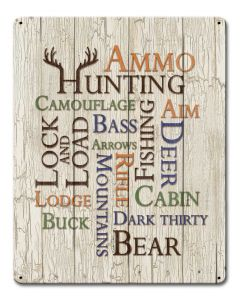 Hunting Fishing Word Collage Vintage Sign, Barn and Country, Metal Sign, Wall Art, 12 X 15 Inches