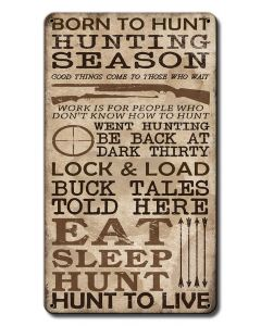Hunting Season Vintage Sign, Barn and Country, Metal Sign, Wall Art, 12 X 18 Inches