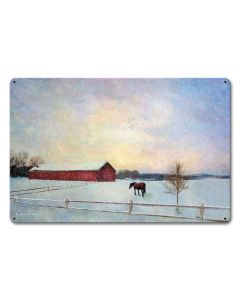 Horse Winter Vintage Sign, Barn and Country, Metal Sign, Wall Art, 18 X 12 Inches