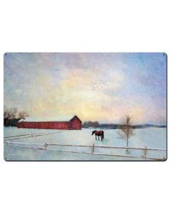 Horse Winter Vintage Sign, Barn and Country, Metal Sign, Wall Art, 36 X 24 Inches