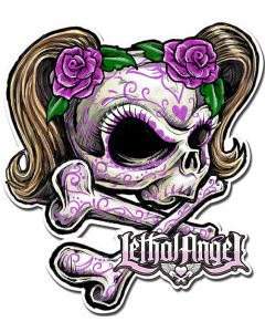 LETH191 - LETHAL ANGEL SKULL PINK FLOWERS, Man Cave, Metal Sign, Wall Art, 19 X 17 Inches