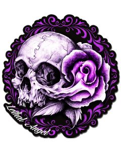 LETH192 - LETHAL ANGEL PINK SKULL ROSE, Man Cave, Metal Sign, Wall Art, 19 X 19 Inches