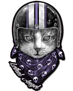 LETH193 - LETHAL ANGEL CAT HELMET, Man Cave, Metal Sign, Wall Art, 12 X 19 Inches