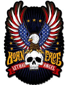 LETH196 - LETHAL ANGEL BORN FREE EAGLE, Man Cave, Metal Sign, Wall Art, 14 X 19 Inches