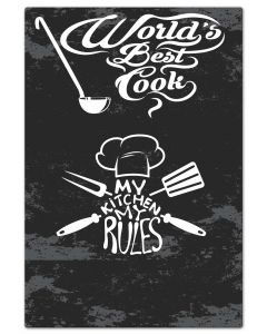 LETH216 - WORLDS BEST COOK Vintage Sign, Man Cave, Metal Sign, Wall Art, 32 X 47 Inches
