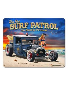 1929 Rat Rod Surf Patrol Vintage Sign, Automotive, Metal Sign, Wall Art, 15 X 12 Inches