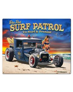 1929 Rat Rod Surf Patrol Vintage Sign, Automotive, Metal Sign, Wall Art, 30 X 24 Inches