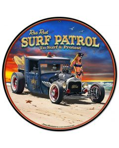1929 Rat Rod Surf Patrol Vintage Sign, Automotive, Metal Sign, Wall Art, 14 X 14 Inches