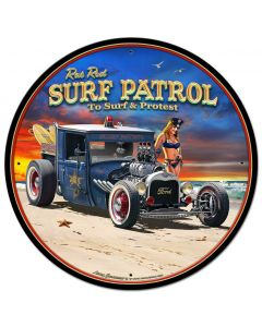 1929 Rat Rod Surf Patrol Vintage Sign, Automotive, Metal Sign, Wall Art, 28 X 28 Inches