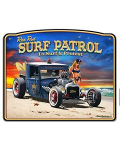 1929 Rat Rod Surf Patrol Frame Vintage Sign, Automotive, Metal Sign, Wall Art, 18 X 15 Inches