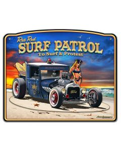 1929 Rat Rod Surf Patrol 3-D Vintage Sign, 3-D, Metal Sign, Wall Art, 18 X 15 Inches