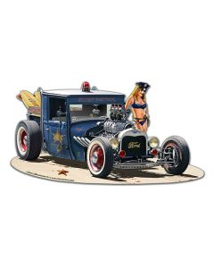1929 Rat Rod Surf Patrol Vintage Sign, Automotive, Metal Sign, Wall Art, 18 X 10 Inches