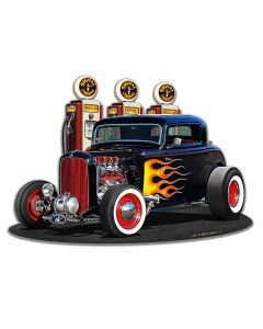 1932 Deuce Coupe Fill-up Cutout Vintage Sign, Automotive, Metal Sign, Wall Art, 18 X 13 Inches