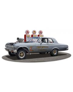 1964 Plymouth Gasser Cutout Vintage Sign, Oil & Petro, Metal Sign, Wall Art, 18 X 9 Inches