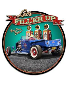 1929 Rod Pickup Fillup Vintage Sign, Automotive, Metal Sign, Wall Art, 16 X 17 Inches