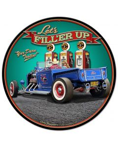 1929 Rod Pickup Fillup Vintage Sign, Automotive, Metal Sign, Wall Art, 14 X 14 Inches