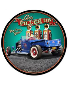 1929 Rod Pickup Fillup Vintage Sign, Automotive, Metal Sign, Wall Art, 28 X 28 Inches
