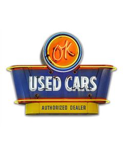 1950's OK Used Cars Vintage Sign, Automotive, Metal Sign, Wall Art, 18 X 12 Inches