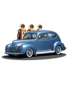 1939 Rod Sedan Fill-up Vintage Sign, Automotive, Metal Sign, Wall Art, 18 X 10 Inches