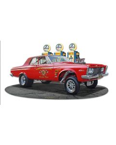 1963 Plymouth Gasser Fill-up Vintage Sign, Oil & Petro, Metal Sign, Wall Art, 18 X 10 Inches