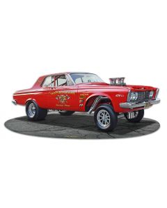 1963 Plymouth Gasser Vintage Sign, Oil & Petro, Metal Sign, Wall Art, 18 X 8 Inches