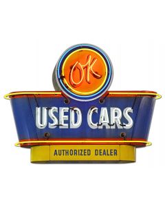 1950's OK Used Cars Vintage Sign, Automotive, Metal Sign, Wall Art, 30 X 23 Inches