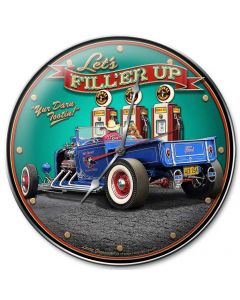 1929 Rod Pickup Fill-Up, Automotive, Metal Sign, Wall Art, 14 X 14 Inches
