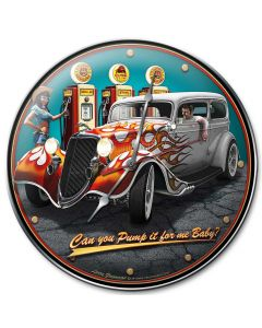 1934 Rod Sedan Fill-up, Automotive, Metal Sign, Wall Art, 14 X 14 Inches