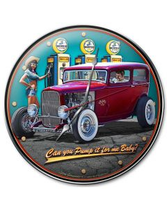 1932 Sedan Fill-up, Automotive, Metal Sign, Wall Art, 14 X 14 Inches