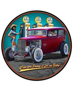 1932 Sedan Fill-up Vintage Sign, Automotive, Metal Sign, Wall Art, 28 X 28 Inches
