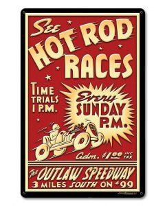 1950's Hot Rod Races Vintage Sign, Automotive, Metal Sign, Wall Art, 12 X 18 Inches