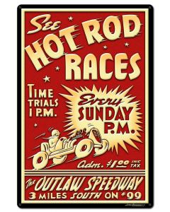 1950's Hot Rod Races Vintage Sign, Automotive, Metal Sign, Wall Art, 24 X 36 Inches