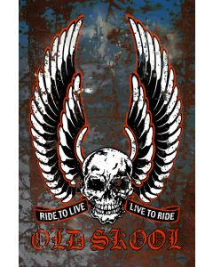 Old Skool Live To Ride Vintage Sign, Transportation, Metal Sign, Wall Art, 12 X 18 Inches