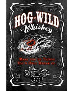 Hog Wild Whiskey, Ocean and Beach, Metal Sign, Wall Art, 12 X 18 Inches