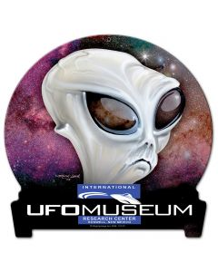 Ufo Museum Half Moon, Man Cave, Metal Sign, Wall Art, 16 X 16 Inches