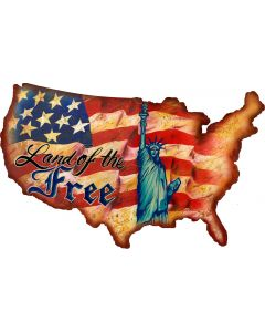 Land Of The Free USA Vintage Sign, Man Cave, Metal Sign, Wall Art, 19 X 12 Inches