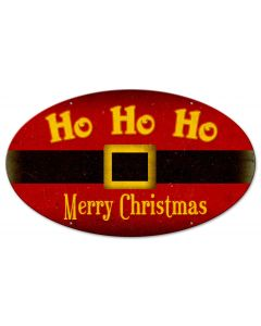Ho Ho Ho Merry Christmas Vintage Sign, Seasonal, Metal Sign, Wall Art, 24 X 14 Inches