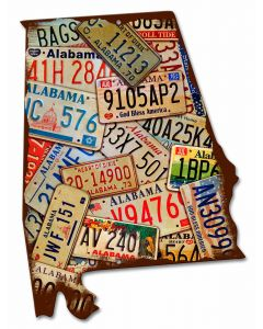 Alabama License Plates Vintage Sign, License Plates, Metal Sign, Wall Art, 15 X 20 Inches