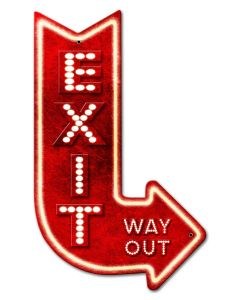 3-D Exit Arrow Right Vintage Sign, 3-D, Metal Sign, Wall Art, 15 X 24 Inches