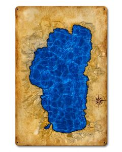 Lake TAhoe Map Vintage Sign, Travel, Metal Sign, Wall Art, 12 X 18 Inches