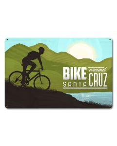 Bike Around Santa Cruz Vintage Sign, Travel, Metal Sign, Wall Art, 12 X 18 Inches