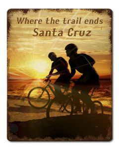Bike Santa Cruz Vintage Sign, Travel, Metal Sign, Wall Art, 12 X 15 Inches