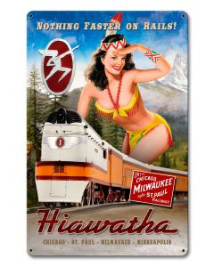 Hiawatha Train Vintage Sign, Trains, Metal Sign, Wall Art, 12 X 18 Inches