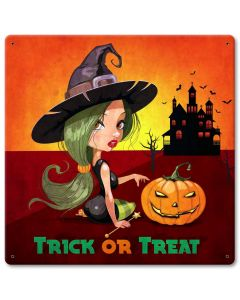 Trick Or Treat Witch Vintage Sign, Halloween, Metal Sign, Wall Art, 12 X 12 Inches