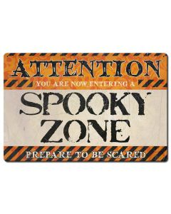 Spooky Zone Vintage Sign, Halloween, Metal Sign, Wall Art, 24 X 16 Inches