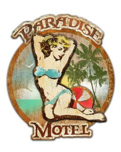 PARADISE MOTEL Vintage Sign, Ralph Burch, Metal Sign, Wall Art, 24 X 21 Inches