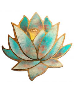 3D Blue Lotus Flower Vintage Sign, Ralph Burch, Metal Sign, Wall Art, 28 X 28 Inches