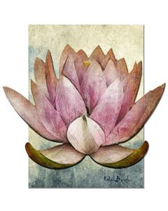 3D Pink Lotus Painting Vintage Sign, Ralph Burch, Metal Sign, Wall Art, 24 X 24 Inches