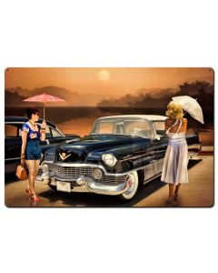 Women Love The Cadillac Philosophy Vintage Sign, Ocean and Beach, Metal Sign, Wall Art, 36 X 24 Inches